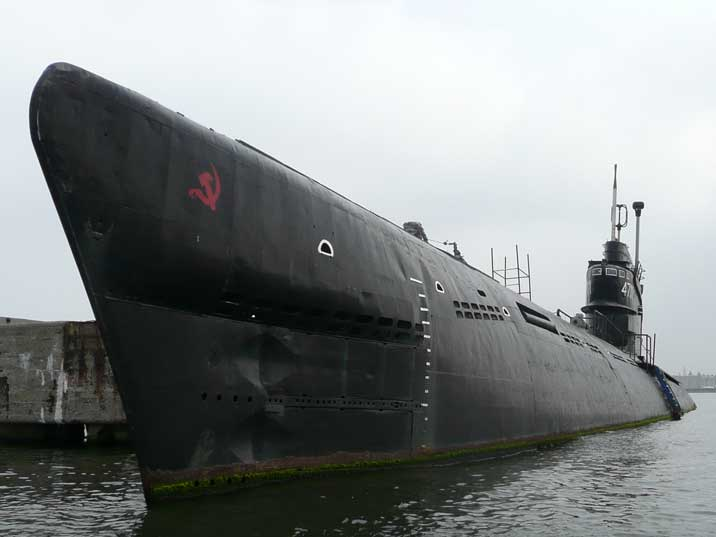 Bow of Soviet B-80 submarine with a hammer and sickle added