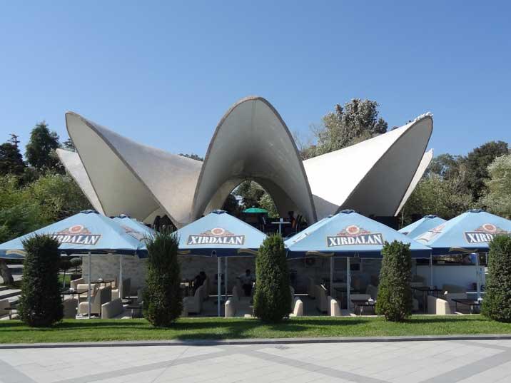 Pearl Cafe with its concrete flower shaped roof on the boulevard of Baku is a masterpiece of Soviet architecture