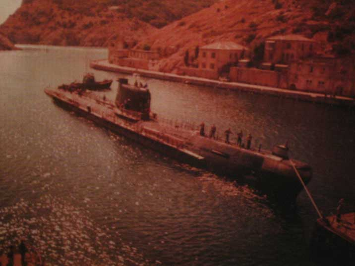 Photo of a Foxtrot class submarine in the Balaklava harbour