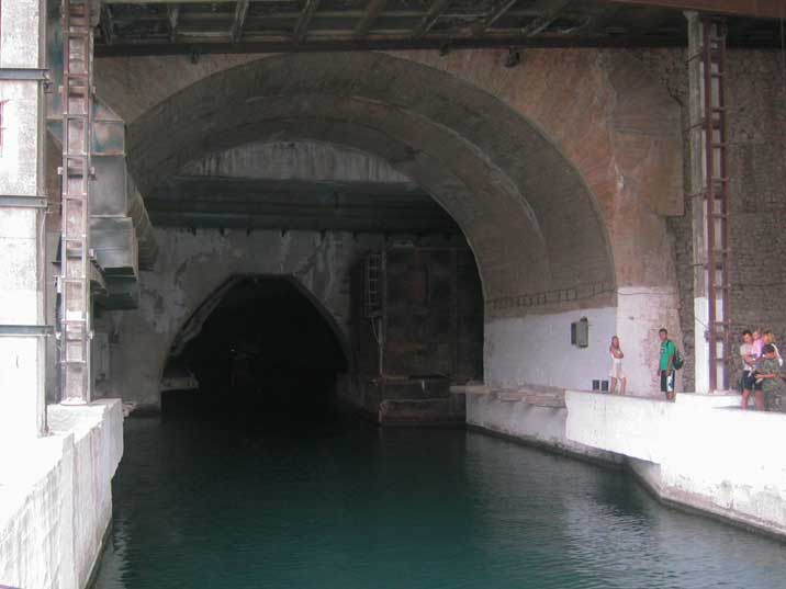Water tunnel where submarines entered the secret complex