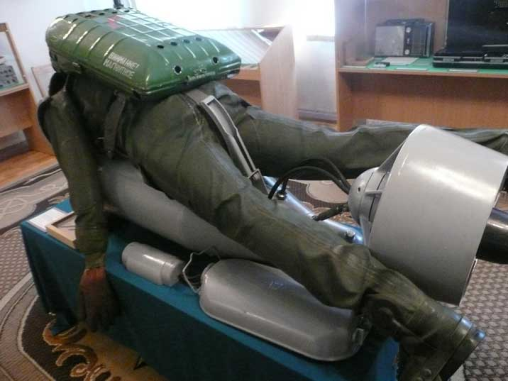 Soviet Special Forces Diver using a submersible transport craft