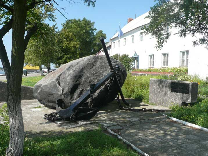 Nautical monument in the Baltiysk harbour made from an anchor