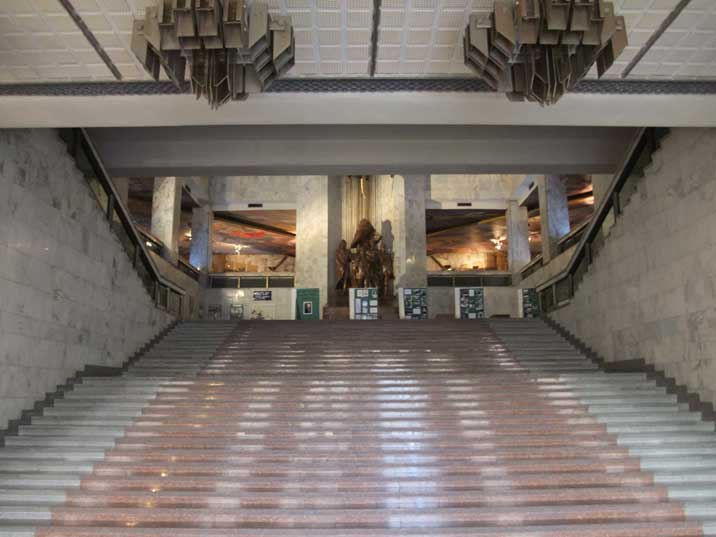 Grand stairway to the second level of the museum where the Soviet era Lenin exhibition is housed