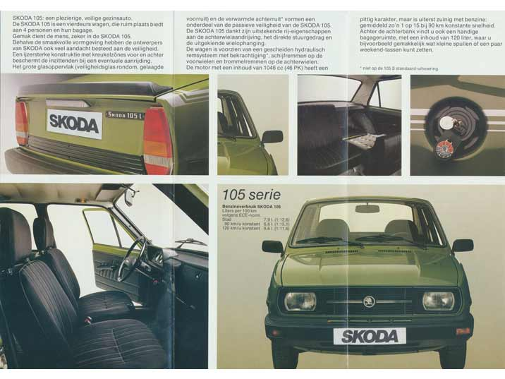 Skoda promotion for the 105 series describing the spaciousness, driving qualities and stylish interior