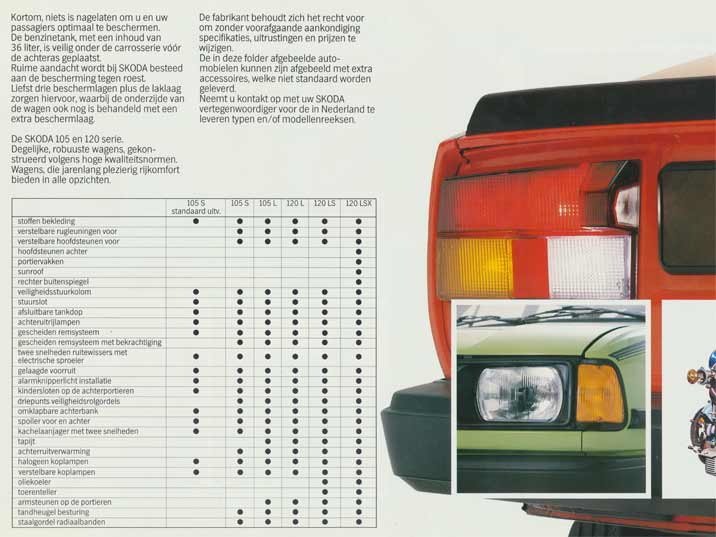 A specification overview of the various Skoda models including the 105 S, 105 L, 120 L, 120 LS and 120 LSK