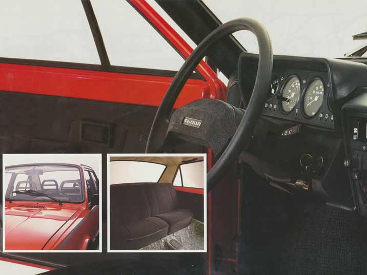 The dashboard and interior of the Skoda 105 and 120 series could compete with other car brands during the 1980s