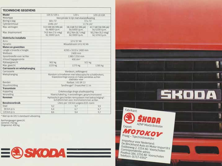 Technical specification of the Skoda 105 and 120 series printed in a Dutch promotion folder from Motokov