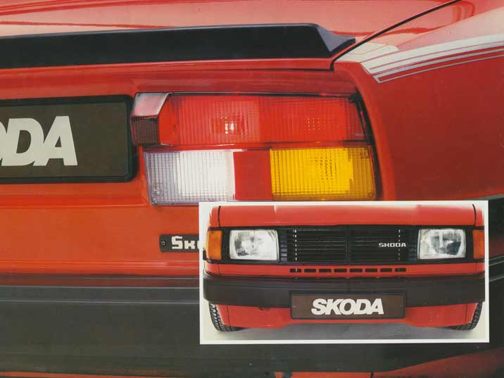 Photos of the front and the rear of the Skoda 105 and 120 series printed in 1980s car promotion material