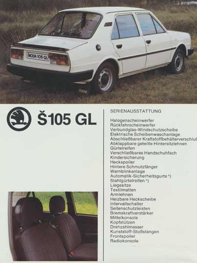 Motokov promotion folder in German with the specifications of the 105 GL with black bumpers