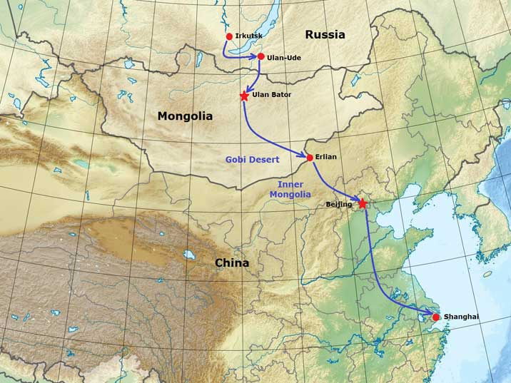 Our Route Trough China From Mongolia To Shangahai