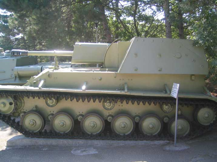 A SU-76, Soviet self-propelled gun used during World War II