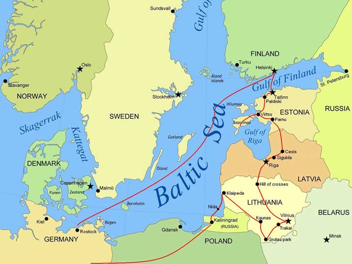 Our route by ferry and car trough the Baltic countries in 2007