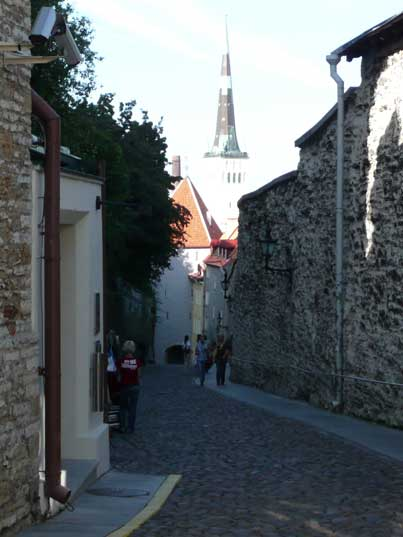 Narrow streets with cobblestones on Toompea hill in Tallinn