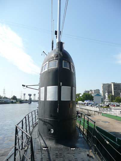 Sail of the B-413 Foxtrot class submarine seen from the bow