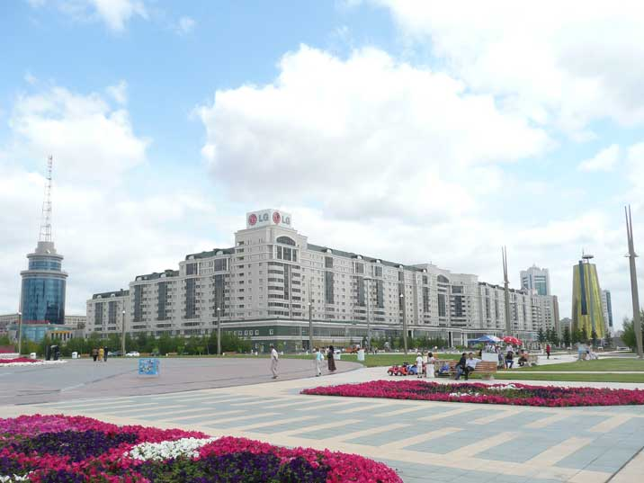 Brand new apartment buildings on Astana's new main square
