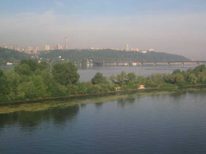 The Dnieper river seen from the train with view on the old town