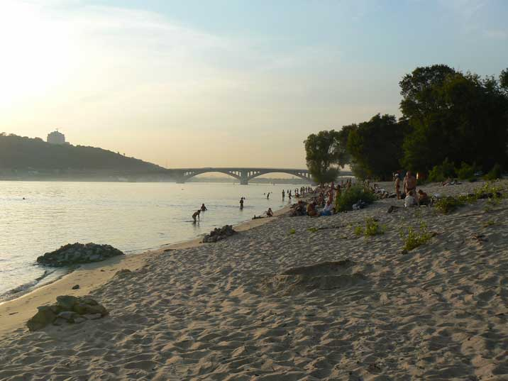 Kiev Hydropark beach on the Dnieper river in the early evening