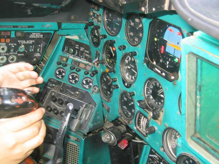 Instruments in the cockpit of the Mil Mi-24 attack Helicopter