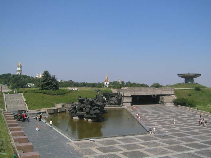Soviet Great Patriotic War memorial complex with sculptures