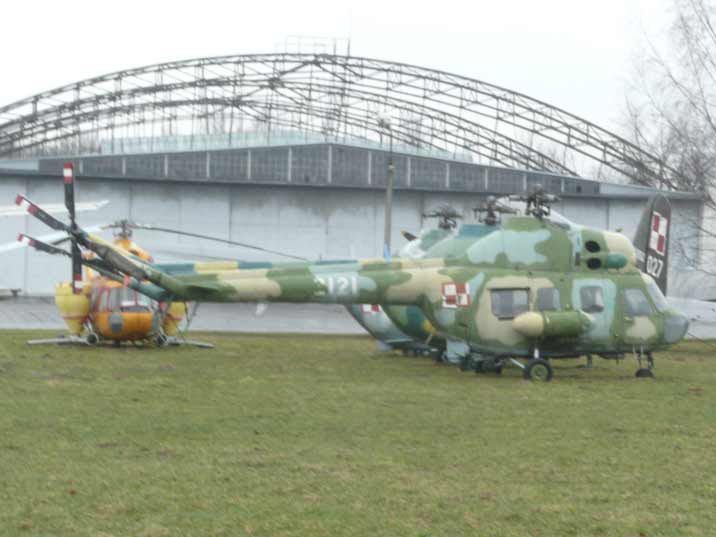 Three Mil Mi-2 helicopters in a row the Mi-2FM is a survey version