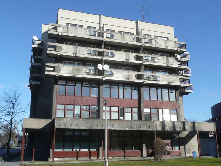 A residential building that is another typical example of communist architecture on Mickiewicza Avenue in Krakow