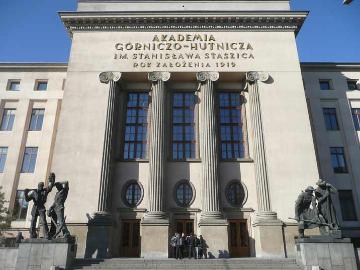 The main building of the University of Science and Technology with two pre communist Socialist realist sculptures