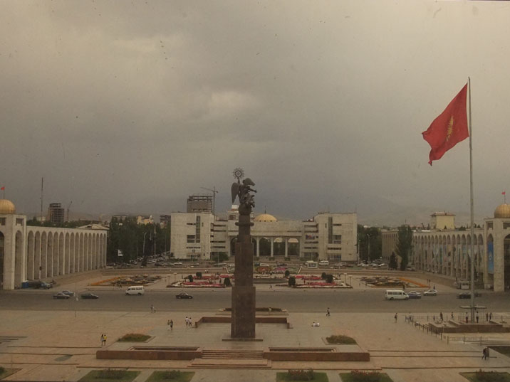 Ala-Too Square with a giant Kyrgyz flag in the middle seen from the former Lenin Museum