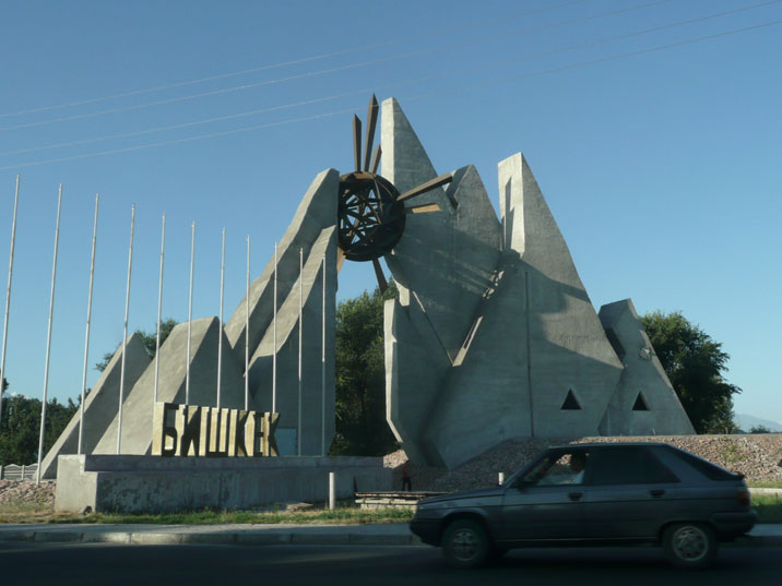 Bishkek city sign seen while entering the Kyrgyz capital coming from the Kazakh border