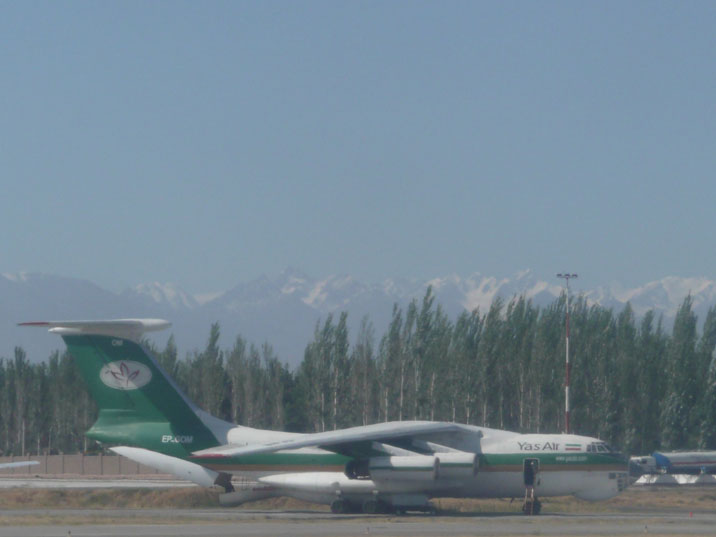 Ilyushin Il-76TD with marking EP-GOM from Iranian air transporter Yas Air, seen on Manas Airport