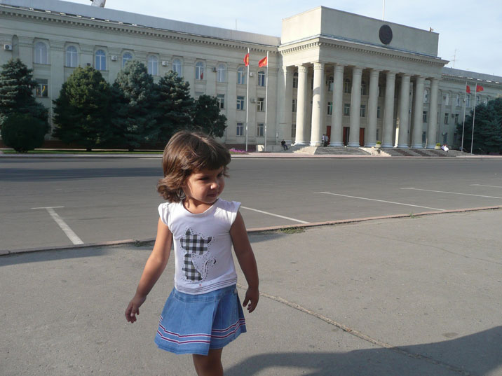Kyrgyz parliament building, built in 1985 in Stalinist modern style, with the Moscow Duma building as a model