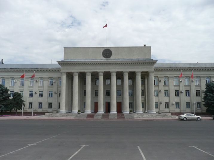 The Kyrgyz parliament building was built on the former location of the Communist Party's Central Committee headquarter
