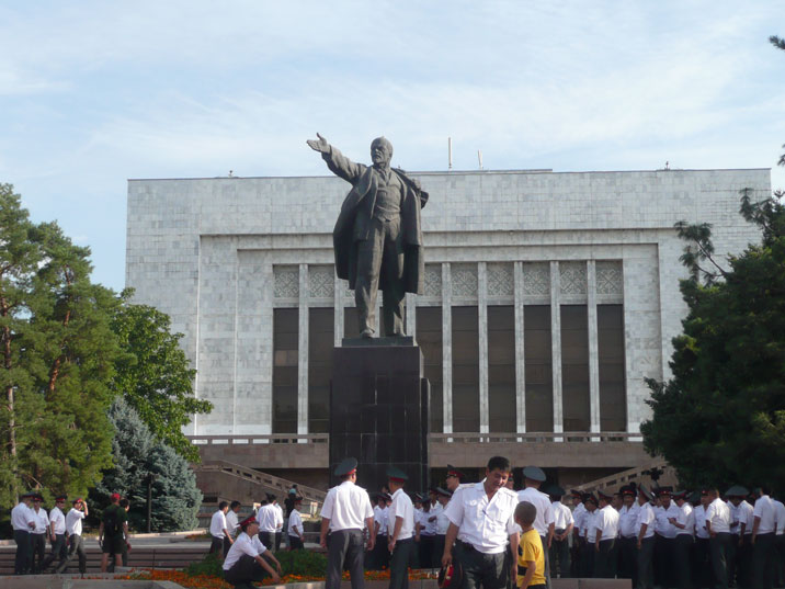 Kyrgyz police meeting around the Bishkek Lenin statue before taking part in a parade