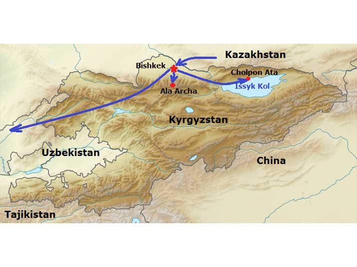 Our route trough Kyrgyzstan, visiting Bishkek, Ala Archa and Lake Issyk Kul