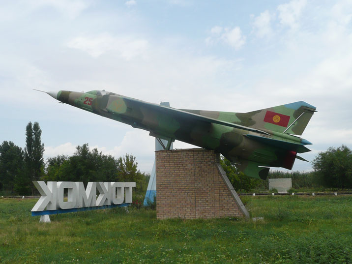 Mikoyan-Gurevich MiG-23MS turned into a monument in the city of Tokmok Kyrgyzstan