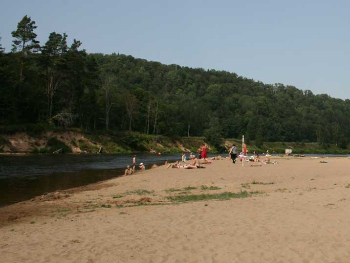 Camping Siguldas Pludmale beach on the Gauja river bank