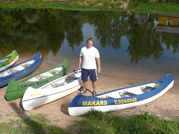 Canoes for rent at the starting point of the Gauja canoe trip