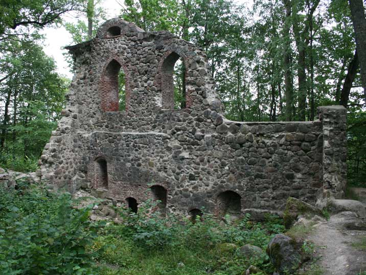 Ruins of the old Krimulda castle in the hills near Sigulda