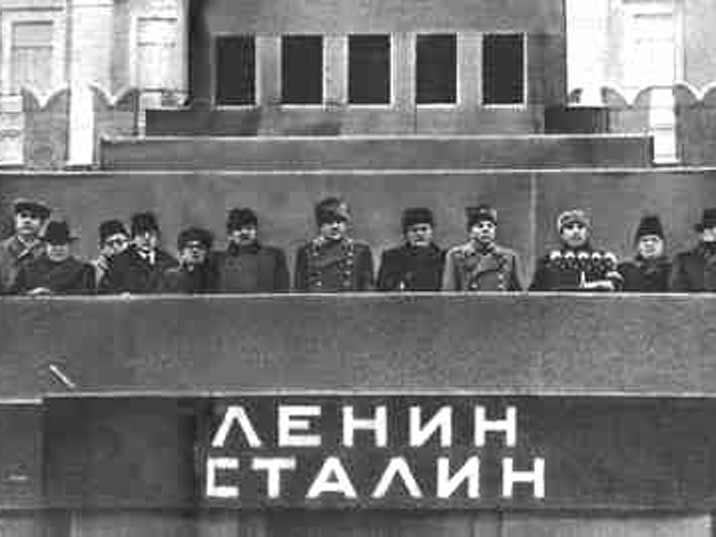 Soviet part leader on top of the Mausoleum were Stalin was buried