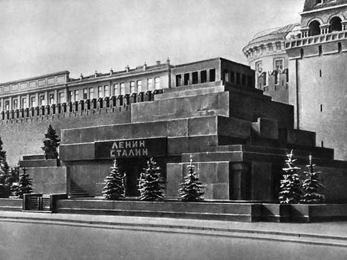 In 1953 Stalin's embalmed body was placed in the Lenin mausoleum