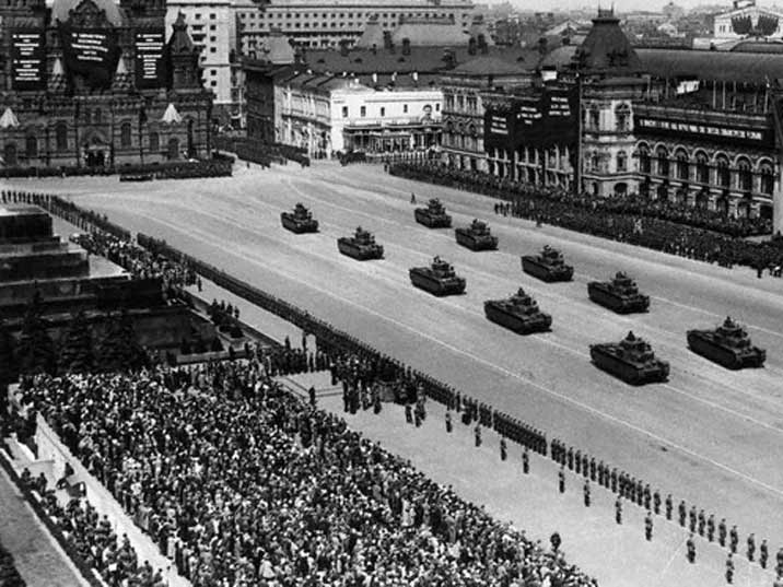 Red Army tanks parading on Red Square on the 1st of May 1939