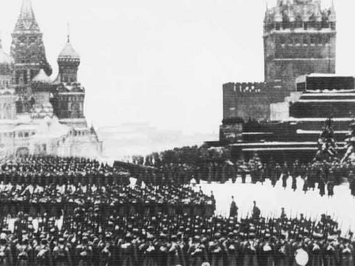 The famous Red Square parade in October 1941 in presence of Stalin