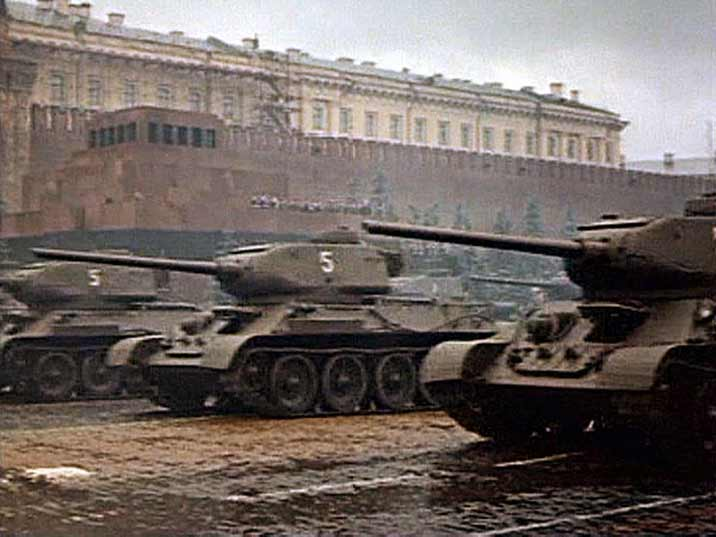 T-34 tanks during the 1945 victory parade in Moscow's Red Square