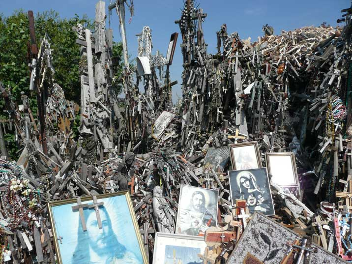 Crosses and portraits of Jesus and Mary left behind by pilgrims