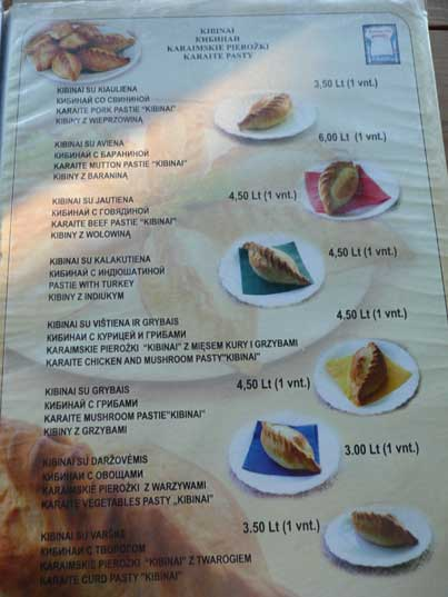 Menu of Restaurant Senoji Kibinine Svetaine with traditional food