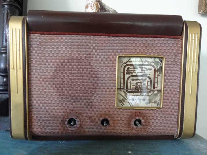 Soviet 1950s radio set in poor condition that once belonged to the Mikoyan family