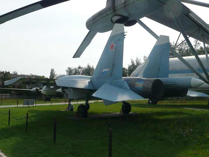 Tail of the famous Soviet fighter Sukhoi Su-35 Flanker