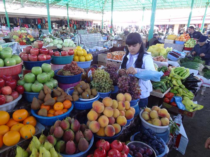 The Stepanakert bazaar is a busy trading place where delicious fruits and other gods are on sale