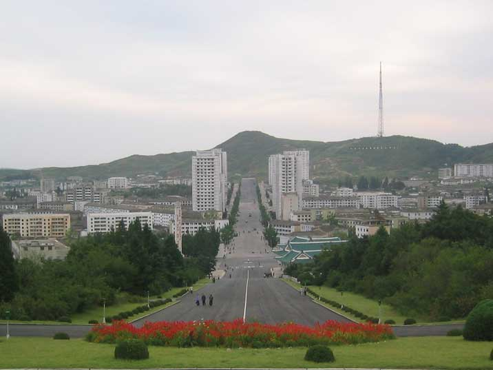 View on Kaesong main street from the Kim Il Sung statue