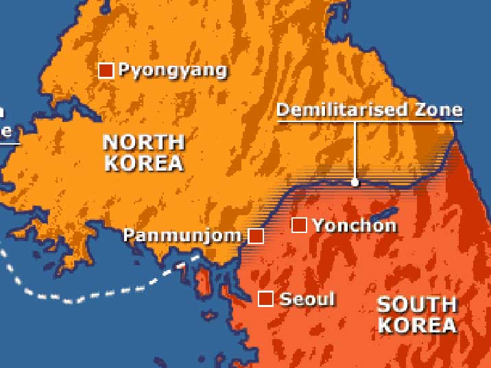 Map of the Demilitarized zone between North and South Korea