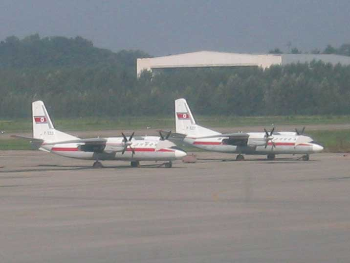 Two Air Koreo Antonov An-26 aircraft at Pyongyang Airport